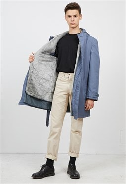Vintage Blue UZOR Winter Shearling Parka Coat