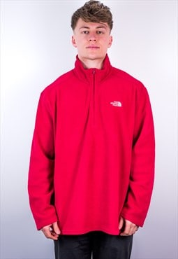 Vintage The North Face 1/4 Zip Fleece in Red