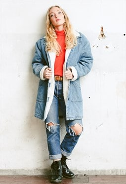 Vintage 80s Oversized Denim Sherpa Coat
