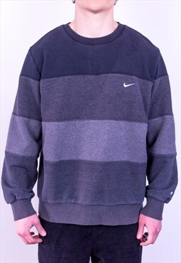 Vintage Nike Sweatshirt Striped Grey Large