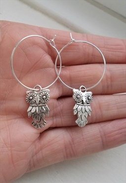 owl earrings - hoop earrings