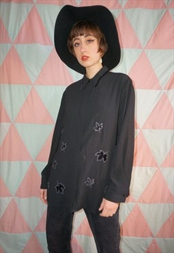 Vintage 90s Black Velvet Leaf  Pattern Blouse