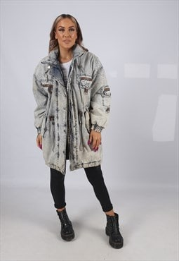 Vintage Acid Wash Denim Parka Jacket Oversized Long  (B5CV)