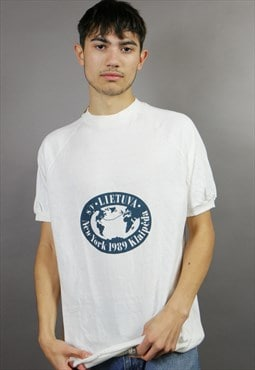 White New York Tourist Spell Out T-Shirt