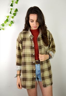 90s Vintage Brown and Grey Checked Flannel Shirt