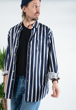 Vintage J. Crew striped skater shirt in blue.