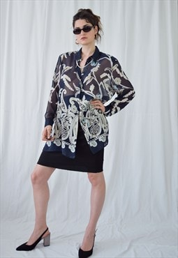 90s see trough floral blouse/tunic