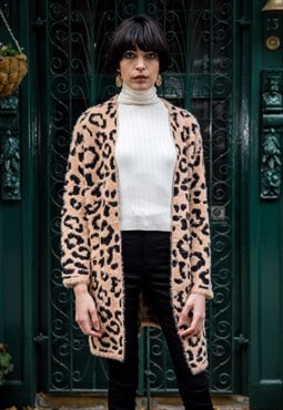 Trendy leopard animal print super soft fluffy long cardigan