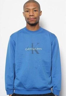 Vintage Calvin Klein Jeans Big Logo Spellout Sweatshirt Blu