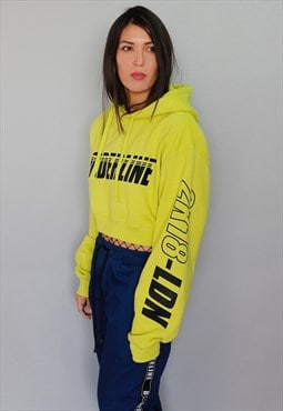 Neon lime green Graphic crop Hoodie