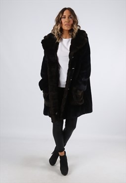 Faux Fur Coat Jacket Vintage UK 16 (A92I)