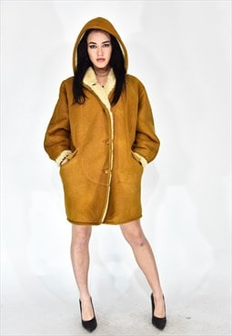 Shearling casual style brown coat