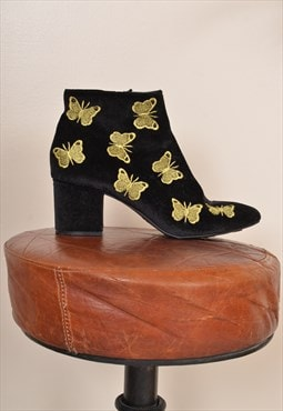 Vintage 90s Butterfly Print Soft Texture Ankle Boot UK 6