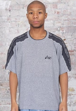 Vintage Asics Tape Logo T-Shirt Grey