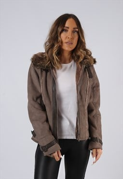 Vintage Faux Sheepskin Suede Effect Jacket UK 10 Small (AEE)