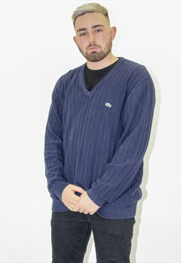 Vintage Lacoste Sweater Jumper in Blue Large