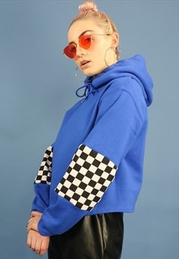 Cropped Hoodie with Checkerboard Detailing