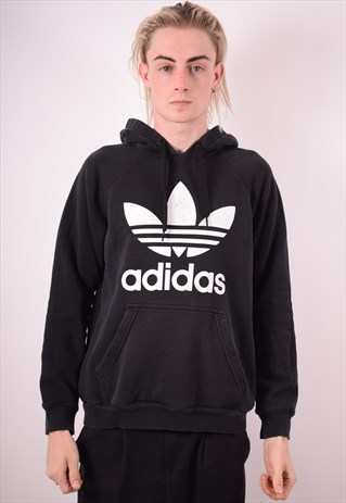 ADIDAS MENS VINTAGE HOODIE JUMPER MEDIUM BLACK 90S