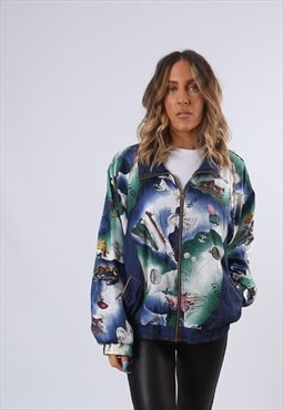 Shell Bomber Print Jacket Oversized Patterned UK 14 (GF2C)