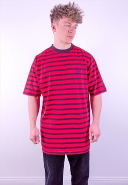 Vintage Burberry Striped T-Shirt in Red & Black
