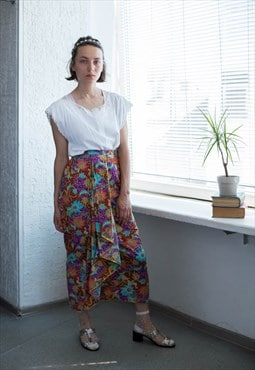 Vintage 70's Multicolour Flower Print Pleated Front Skirt