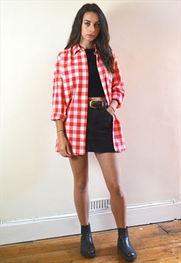 1990s Vintage Red & White Checked Long Sleeve Shirt