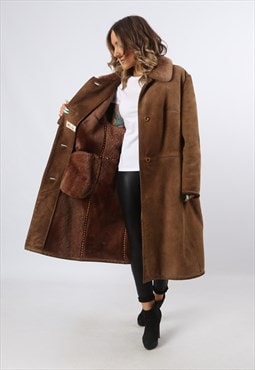 Sheepskin Suede Shearling Coat Jacket Long UK 18 (LHCR)