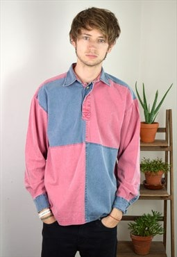 90s Vintage Pink and Blue Thick Long Sleeve Polo Shirt Top