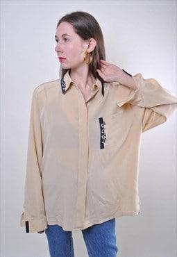 80s beige women minimalist long sleeve blouse, Size L
