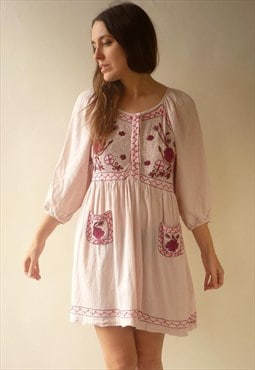 Vintage Bohemian 90's Vintage Cheesecloth Embroidered Dress