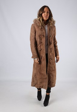 Sheepskin Suede Hooded Shearling Coat UK 10 Small (LJ3B)