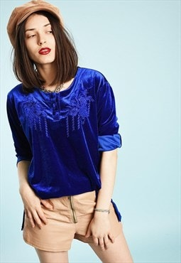 90's retro velvet embroidered festival loose-fitted blouse
