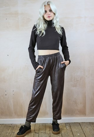 VEGAN LEATHER CROP TROUSERS