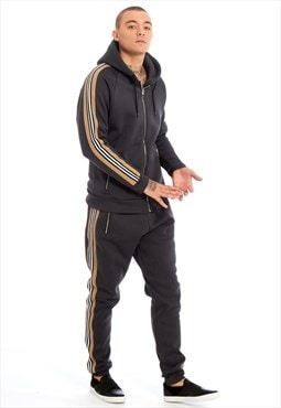 Mens Grey Aarhon Bandage Striped Hood Skinny Fit Tracksuit