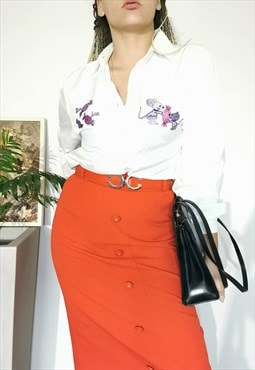 Vintage 80's novelty print embroidered white shirt blouse