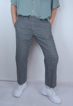 Vintage classic checkered dark grey straight trousers