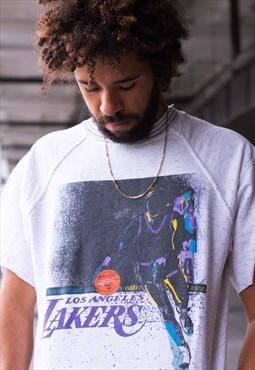 Vintage 90's LA Lakers short sleeve sweatshirt in grey