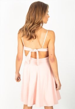 pink knot back skater dress