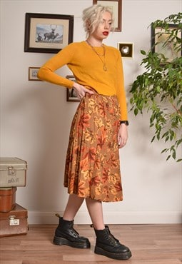 Vintage Floral Leafy Tropical Style Midi Skirt in Orange