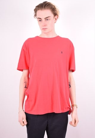 POLO RALPH LAUREN MENS VINTAGE T-SHIRT TOP LARGE RED 90S