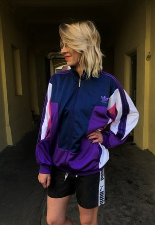 VINTAGE 80' OLDSCHOOL COOL UNISEX ADIDAS PURPLE JACKET