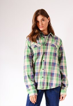 Vintage Check Flannel Shirt Light Green