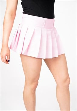 Salini Pink Pleated Check Mini Skirt