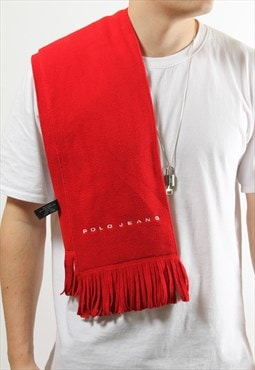 Vintage Polo Jeans Scarf in Red w/ White Spell Out Logo