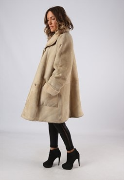 Sheepskin Leather Shearling  Coat UK 16 - 18 (B9DG)