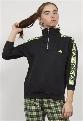 VINTAGE TAPERED CROPPED THREE QUARTER ZIP ASICS 80'S SWEATER