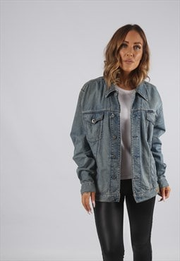 Vintage Denim Jacket Oversized Fitted UK L 14 (91G)