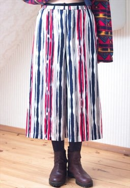 A line red blue and white striped vintage skirt