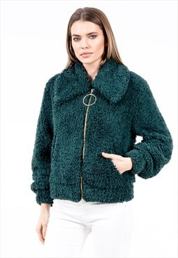 Zipped Fleece Jacket in Green with Side Pockets