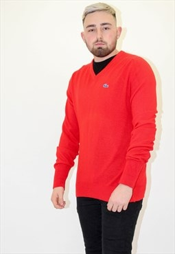Vintage Izod Lacoste Sweater Jumper in Red Large